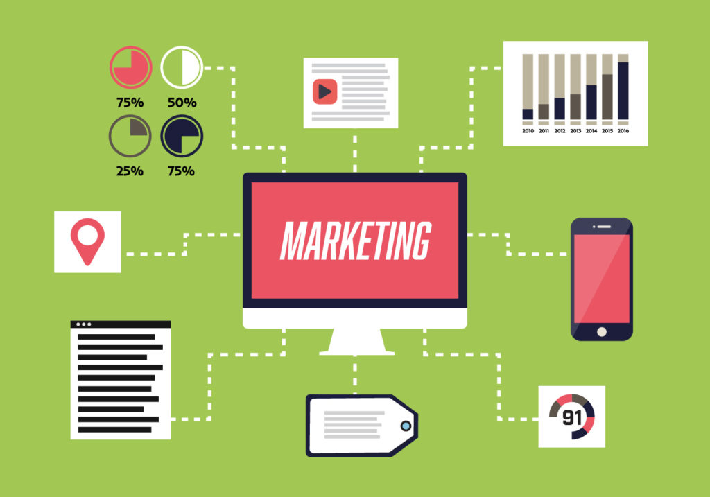 free-flat-digital-marketing-vector-background-with-computer